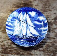 Vintage BURLEIGH Souvenir Cobalt Plate BLUENOSE II Ship Staffordshire England