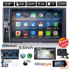 "6.6"" HD Double 2DIN Touch Car Stereo Radio MP3 Player Bluetooth USB/TF/AUX+CAM"