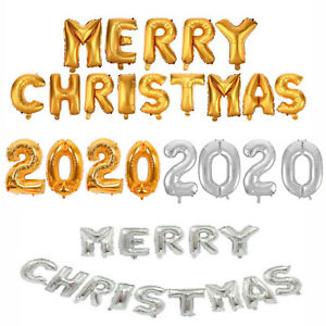 "MERRY CHRISTMAS Balloon Banner Bunting 16"" Inflating Foil Balloons Xmas 2020 UK"