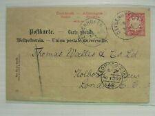 1897 Germany cover postcard to Thomas Wallis & Co Ltd  several CDS