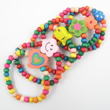 12Pcs Children Elastic Bracelet Kids Girl Colorful Wood Wristbands Birthday Gift