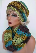 TURQUOISE BROWN MULTI HAND CROCHET HAT AND INFINITY SCARF SET BEANIE BERET