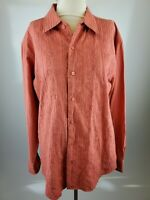 FRANKY MAX Mens Shirt Embroidery Front Orange Large Button Down Long Sleeve