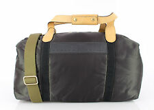 NEW $1300 DOLCE&GABBANA Gray Nylon Duffle Bag Leather Travel Gym Hand Shoulder