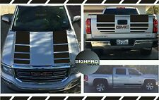 New 2014-2016 GMC Sierra Hood Tail Rally Stripe Decals Graphics X Fader X