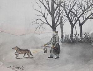 1961 Landscape Hunter Dog WC Painting Signed