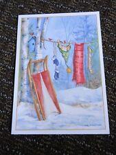 Christmas Card Michelle L. Palmer Cardinal Clothesline Sled Birdhouse Birch Tree