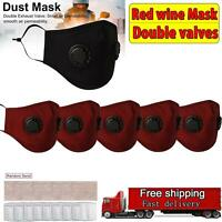 5X Red Masks Air Purifying Carbon Filter Double valves Anti Haze Fog Respirator