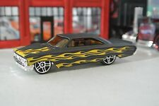 Hot Wheels '64 Ford Galaxie - Flat Black w/ Gold Flames - Loose - 1:64 Exclusive