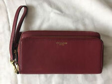 Authentic COACH LEGACY DOUBLE ACCORDION ZIP WALLET WRISTLET DEEP PORT Wine Red