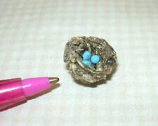 Miniature Robin's Bird's Nest w/3 Tiny Blue Eggs: DOLLHOUSE 1:12 Scale