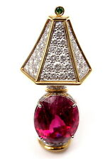 Authentic! Tiffany & Co Platinum 18k Gold Diamond Rubellite Tsavorite Pin Brooch