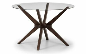 Chelsea Circular 120cm Glass Top Dining Table Walnut Finish 2 Man Delivery