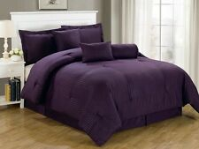 Luxurious 7-Piece Comforter Set Queen Size Bedding Purple Bedspread Bed in a Bag