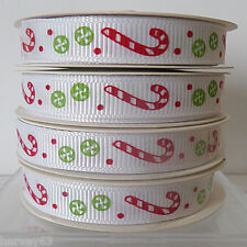 Christmas Ribbon White With Candy Canes & Green Sweets  ~ 5 yard Roll 10mm Wide
