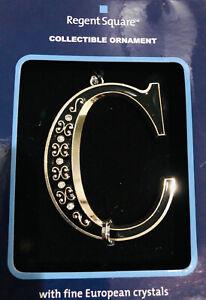 Monogram Letter C Black  European  Crystals Christmas Ornament