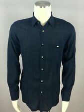 LACOSTE Luxury Dark Navy 100% Linen Pocketed Long Sleeve Mens Shirt Size 40 L