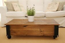 Table Basse D'Appoint Noyer Bois Massif Shabby Chic Style Vintage Wohnzimmertisc
