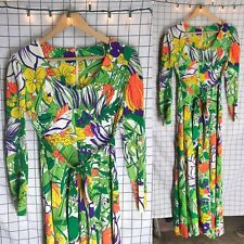 Vintage 60s/70s The Company Floral Long Sleeve Tropical Maxi Dress Size S/M