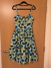 BERNIE DEXTER Femmes Robe Taille 10/S-M Bleu Leaf Print Sundress Cotton