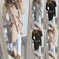 Womens Long Sleeve Waterfall Cardigan Jacket Tops Trench Coat Outwear Overcoat