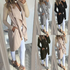 Damen Cardigan Strickjacke Wasserfall Mantel Pullover Longshirt Winter Jacke Top