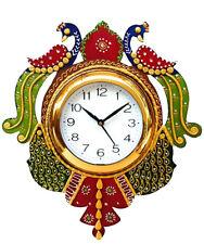 Handmade Peacock Analog Wall Clock Modern Home Decor Gift Wooden Clock