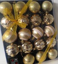 20 Gorgeous Xmas Tree Hanging Ornament Baubles Sparkly Gold Chic Display New