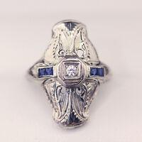 Antique Art Deco Diamond & Sapphire plaque style engagement ring, 18ct  filigree