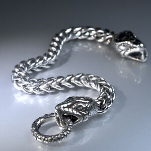 Silver bracelet braided wheat Franco chain circle clasp snake stainless steel