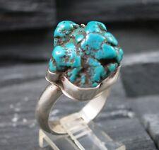 JR Artisan Signed Navajo Indian 925 Sterling Silver Turquoise Nugget Men's Ring
