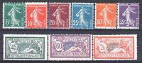 FRANCE ANNEE COMPLETE 1907 YVERT 137/145 , 9 TIMBRES NEUFS xx TTB   M882B
