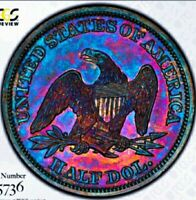 1859 PROOF+++ PR++  SEATED LIBERTY HALF DOLLAR NICE RAINBOW PROOF / SECURE PCGS.