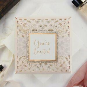 BEAUTIFUL ROSE GOLD FOIL LASER CUT WEDDING INVITATIONS DIY GLITTER FREE SHIPPING