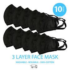 10 Pieces Washable Face Masks Large (Color Black)