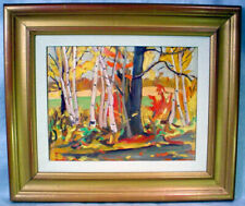 1958 Original BIRCHES Oil Painting RALPH WALLACE BURTON Canadian Artist R.W.