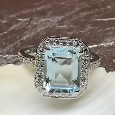 AAA Genuine 2.5ct Aquamarine Emerald Cut 925 Solid Sterling Silver Ring sz 7.75
