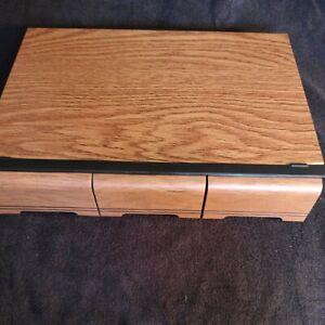 Vintage Faux Wood 42 Cassette Tape Holder Drawer Storage Box Case 3 Drawers