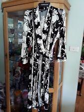 Charlie Brown Designer Wrap Dress Size16 Retro Black & White Floral Wrap Dress