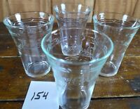 Set of 4 Glasses Pepsi Cola Crystal Clear Frosted White Logo Beverageware