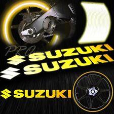 "8"" Reflective Logo Decal+16"" 17"" 18"" Rim Tape/Wheel Stripe Sticker Suzuki Yellow"