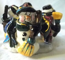 Blue Sky Clayworks Heather Goldminc Christmas Snowman Trio T-lite candle holder