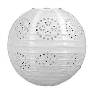 "3 white paper lace pattern lanterns 8"" diameter wedding party decorations"