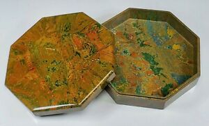 ANTIQUE ART-DECO 1920's  EBENA BELGIUM BAKELITE LIDDED OCTAGONAL BONBONIER BOX