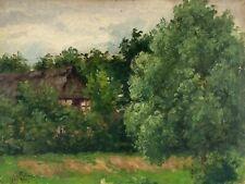 Ölbild Alte Kate hinter Bäumen in Jever Niedersachen Friesland um 1900 Antik