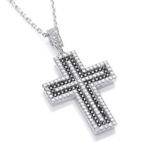 J JAZ Eden Sterling Silver Cubic Zirconia Peace Cross Pendant Necklace