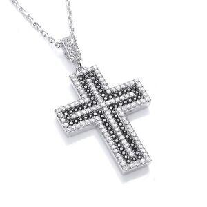 Sterling Silver Chain Necklace Cubic Zirconia Peace Cross Charm Pendant J JAZ