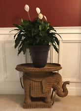 *vintage* Elephant Wooden Wicker Tray Table