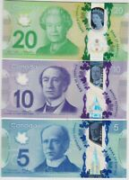 THREE P108b $20, P107b $10 & P106 $5 CANADA BANK NOTES IN MINT CONDITION