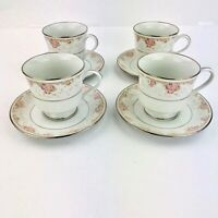 Royal Prestige Dinnerware Tea Cups & Saucers Set of 4 Chelsea Soft floral China